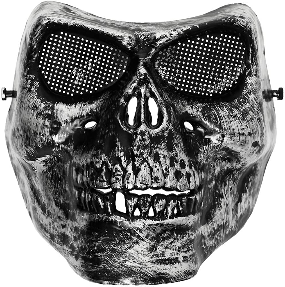 Top Fuel Fashion Totenkopf Halloween Maske Skull Design 1 Silver Bekleidung