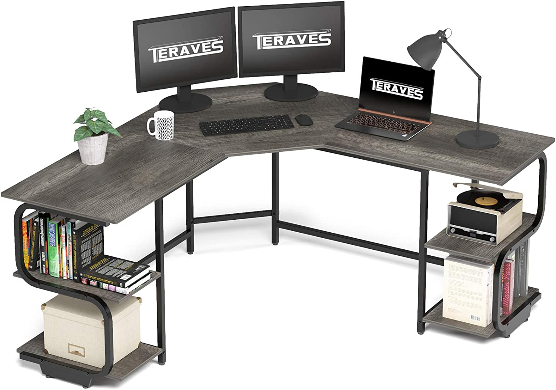 Teraves L Shaped Desk with Shelves Computer Desk with Large Desktop Gaming Table Workstation for Home Office