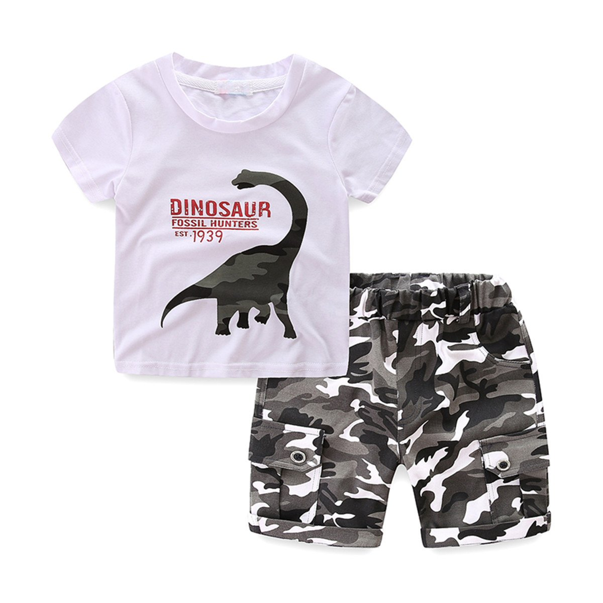 UWESPRING Boys Summer Sets Dinosaur T-shirt Camouflage Pant Suit 4T White