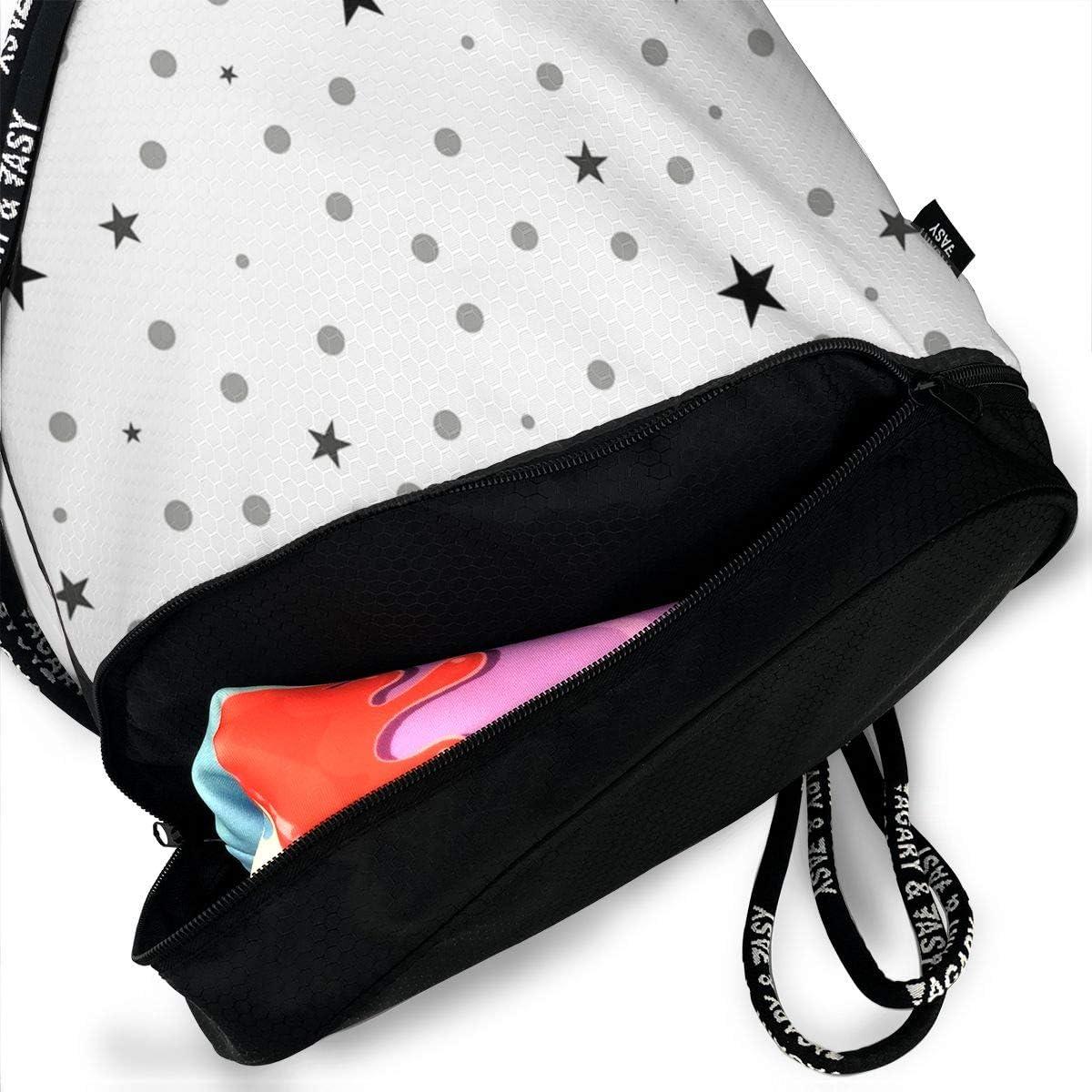 HUOPR5Q Star-dot Drawstring Backpack Sport Gym Sack Shoulder Bulk Bag Dance Bag for School Travel