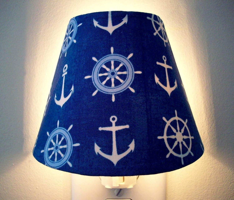 Anchor Helm Nautical Night Light Blue White