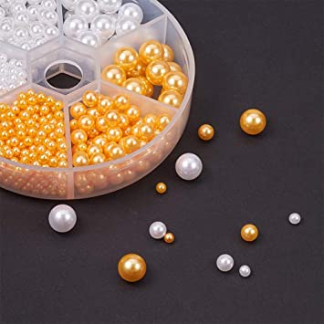 Wedding Home Decoration PH PandaHall About 930pcs 3 Sizes No Holes//Undrilled Imitated Pearl Beads for Vase Fillers Party 3mm, 5mm, 8mm, White /& Goldenrod