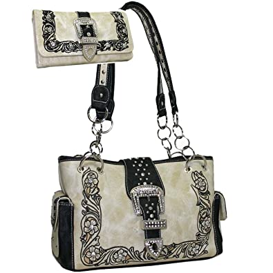 f4b8dc7cd26e Western Rhinestone Studded Bling Buckle Floral Embroidered Handbag Purse  With Matching Wallet - Beige