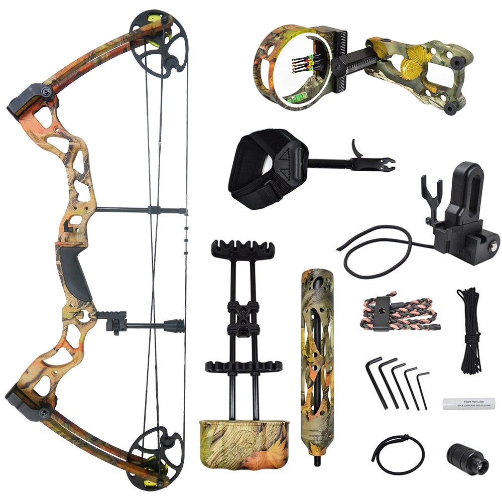 iGlow 40-70 lbs Autumn Camouflage Camo Archery Hunting Compound Bow with Elite Kit 175 150 60 55 30 lb Crossbow