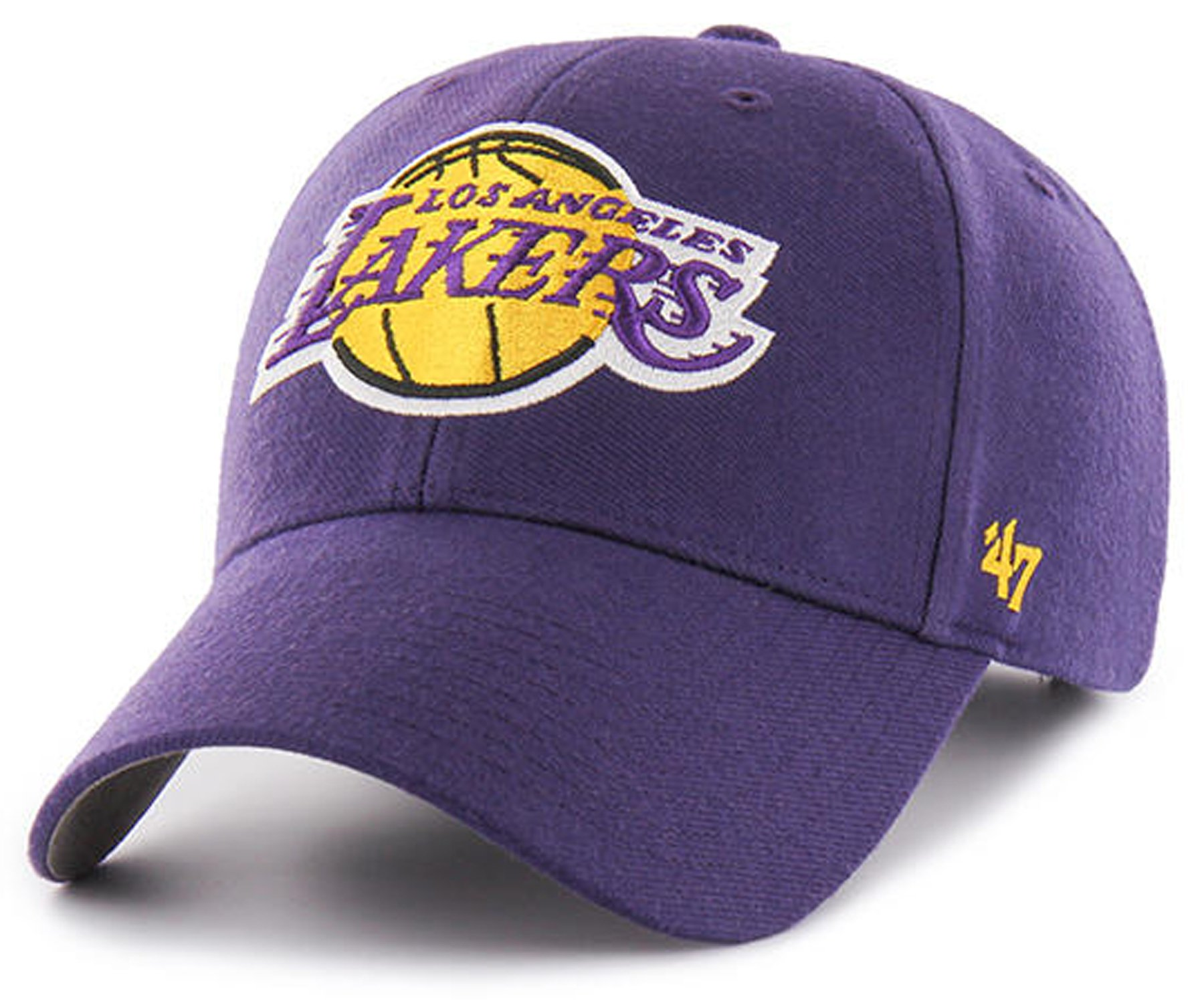 '47 NBA Los Angeles Lakers Clean up Adjustable Hat, Black, One Size (Purple, One Size)