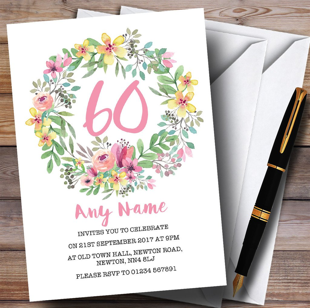 80 Invites & Envelopes Watercolour Floral Wreath Pink 60th Personalised Birthday Party Invitations