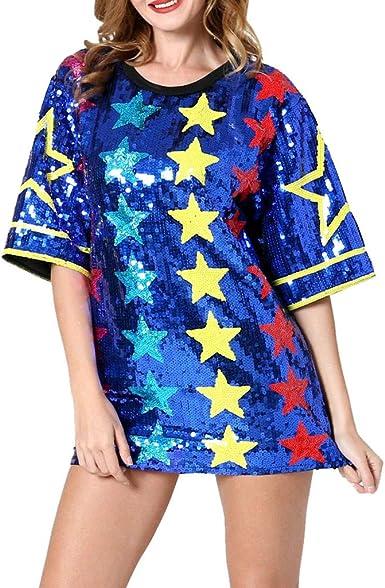 Camisetas de Lentejuelas para Mujer Manga Corta Camisa Larga Suelta Vestidos Cortos Brillante, Un tamaño: Amazon.es: Ropa y accesorios