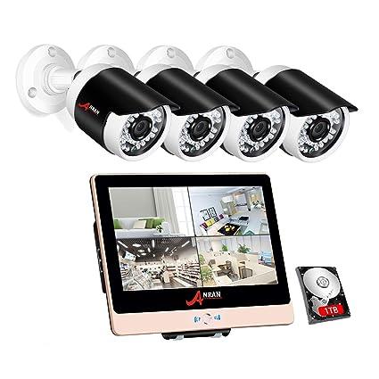ANRAN 2MP CCTV Kit Cámaras de Vigilancia PoE con Monitor de 12 Pulgadas 1080P NVR PoE 4CH 4 Cámara de Seguridad PoE Exterior con Disco Duro de 1TB ...