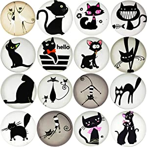 Aligle 16pcs Beautiful Glass Cat Refrigerator Magnets Cute Fridge Stickers Funny for Office Cabinets Whiteboards Decorative Photo Abstract Calendar Bulletin Board