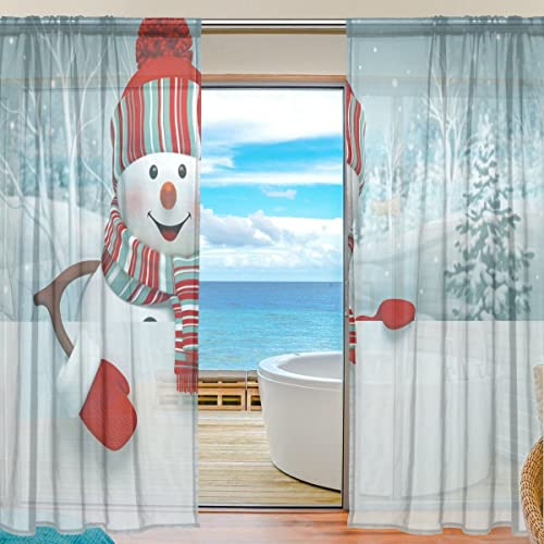 JSTEL 2-Piece 3D Cartoon Snowman Christmas Pattern Print Tulle Polyester Door Voile Window Curtain Sheer Curtain Panel