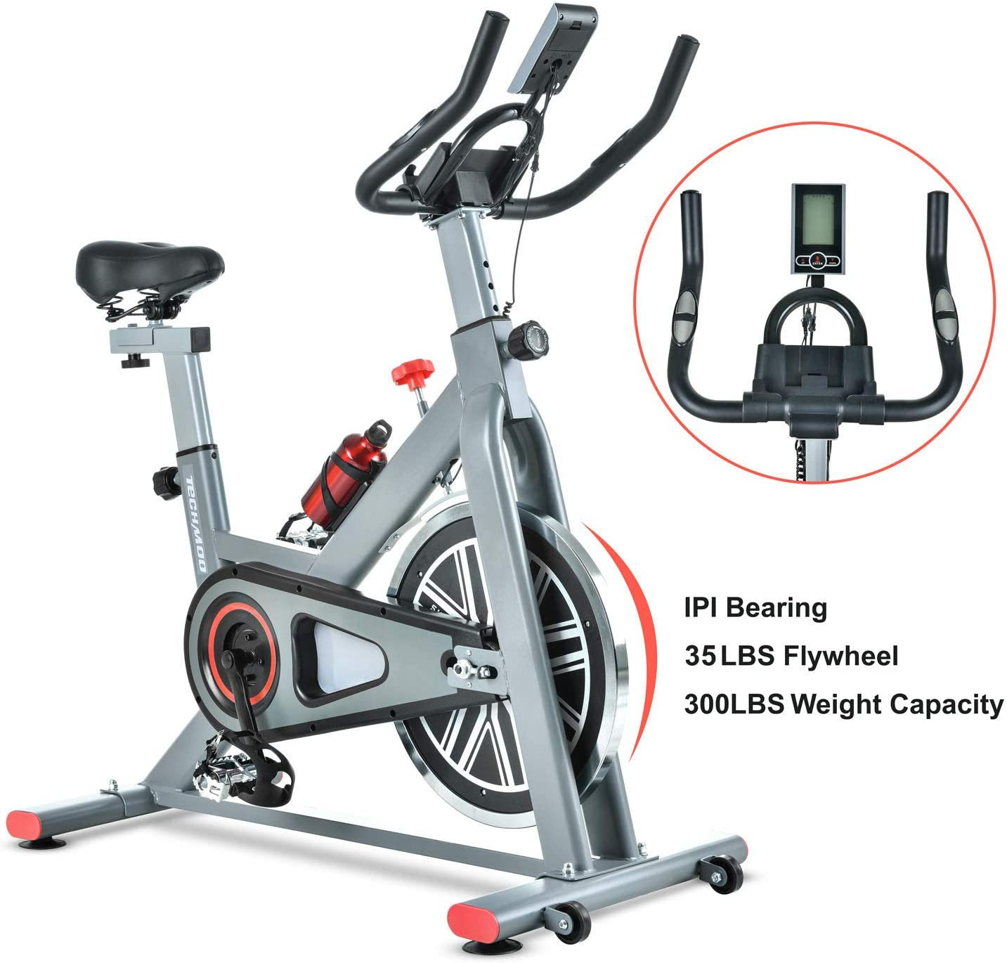 TECHMOO Indoor Exercise Bike Fitness Upright Exercise Bike Magnetic Belt Drive Home Cycling Exercise Bike Indoor Stationary Bike Bicycle for Cardio Workout Losing Weight