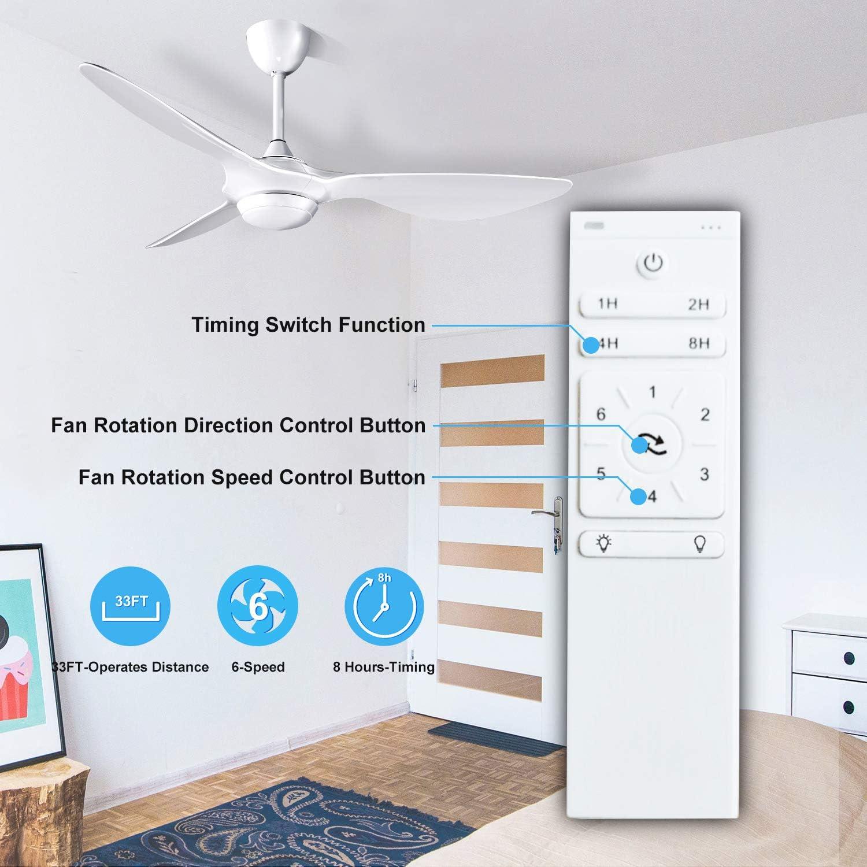 H&Fun 132CM Ventilador de Techo con Kit de Luz LED Control Remoto ...