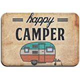 "Happy Camper Camping Door Mat Entrance Mat Floor Mat Rug Indoor/Outdoor/Front Door/Bathroom Mats Rubber Non Slip £¨24""x36"",40cmx60cm£"