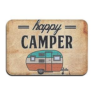 """Happy Camper Camping Door Mat Entrance Mat Floor Mat Rug Indoor/Outdoor/Front Door/Bathroom Mats Rubber Non Slip £¨24""""x36"""",40cmx60cm£"""