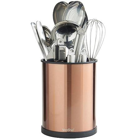 VonShef Copper Rotating Kitchen Utensil Holder 18cm   Stainless Steel