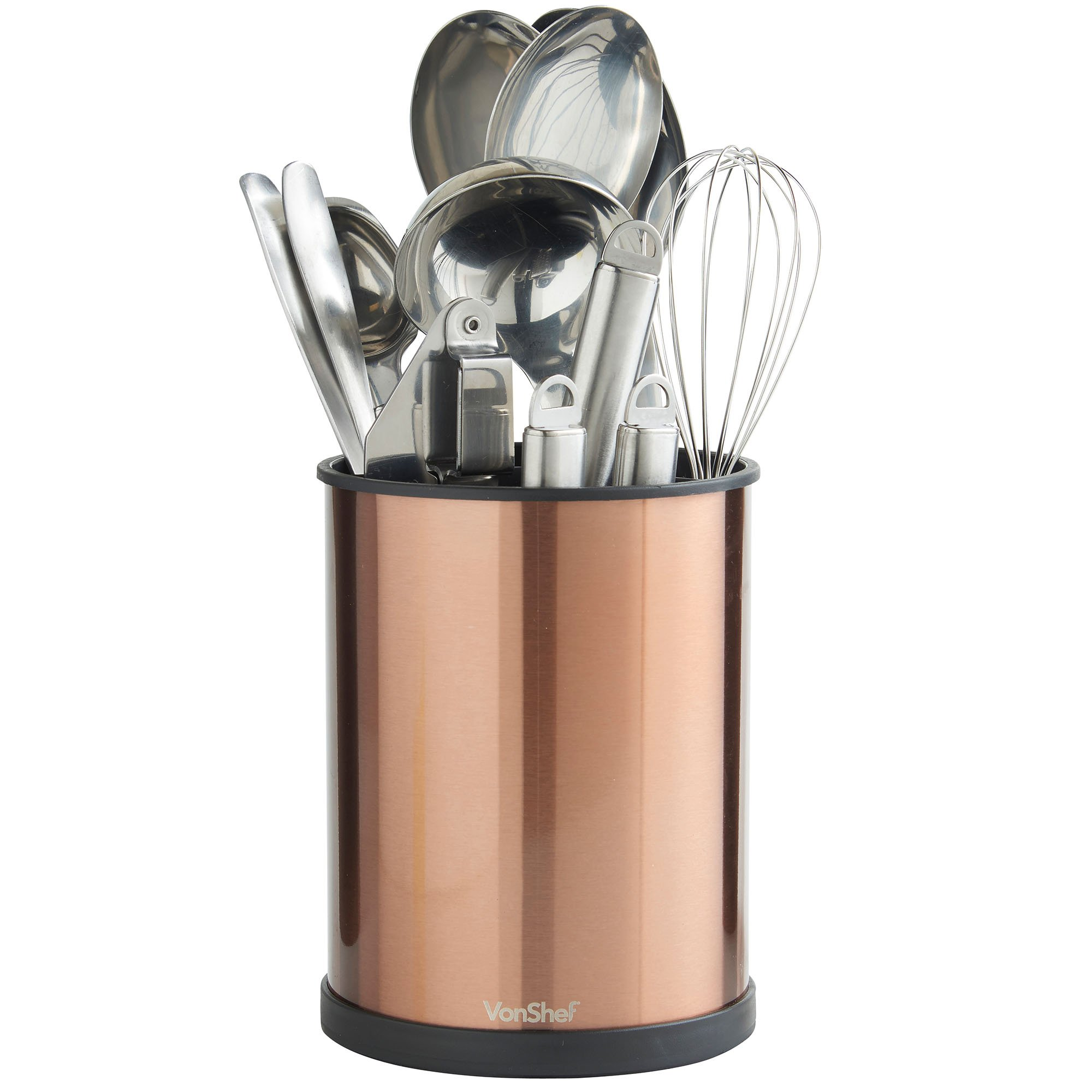VonShef Copper Rotating Kitchen Utensil Holder Organizer Removable Insert Drain Holes, Stainless Steel, Height 7 Inches