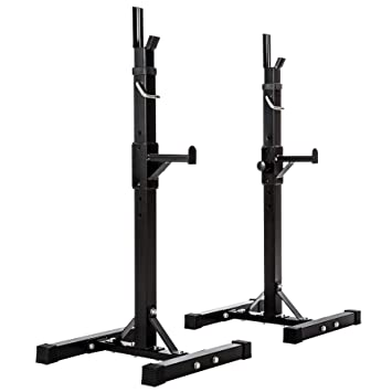 TecTake SOPORTE PARA BARRA DE PESAS HALTERA BASE REGULABLE | regulable en altura 12 veces | carga max. 100kg | negro: Amazon.es: Deportes y aire libre