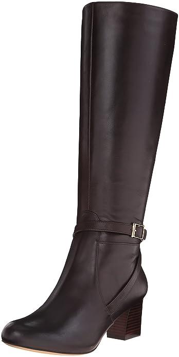76677123fd7 Trotters Women s Peaches Wide Calf Dark Brown Full Grain Soft Nappa Leather  Boot 8 M (