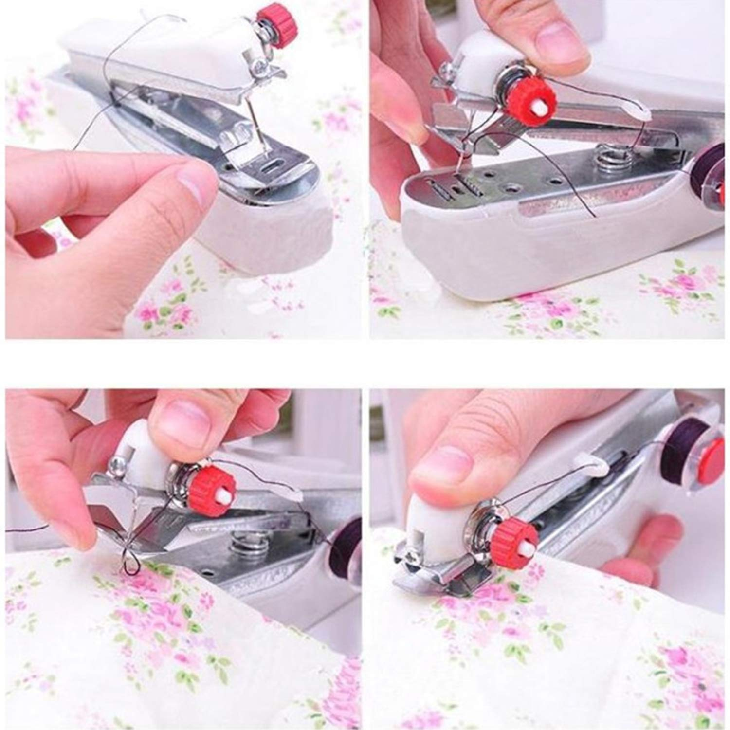 Portable Mini Handheld Sewing Machine Hand-Held Clothes Fabrics Stitch Manual Sewing Machine Travel or Household