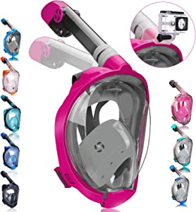 qingsong Full Face Snorkel Mask, Snorkeling Mask with Advanced Safety Breathing System, Foldable 180 Degree Panoramic View Snorkel Set Anti-Fog Anti-Leak, Ideal Gifts for Kids & Adult