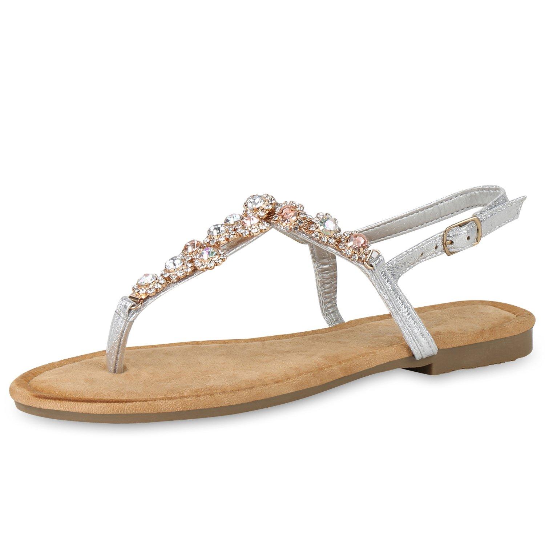 SCARPE VITA Damen Sandalen Zehentrenner mit Blockabsatz Ketten Strass  40 EU|Silber Blumen