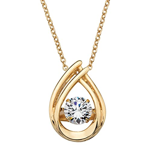 14K Gold over Sterling Silver, Looped CZ in Motion Pendant Necklace 1mm , Round Cubic Zirconia 18
