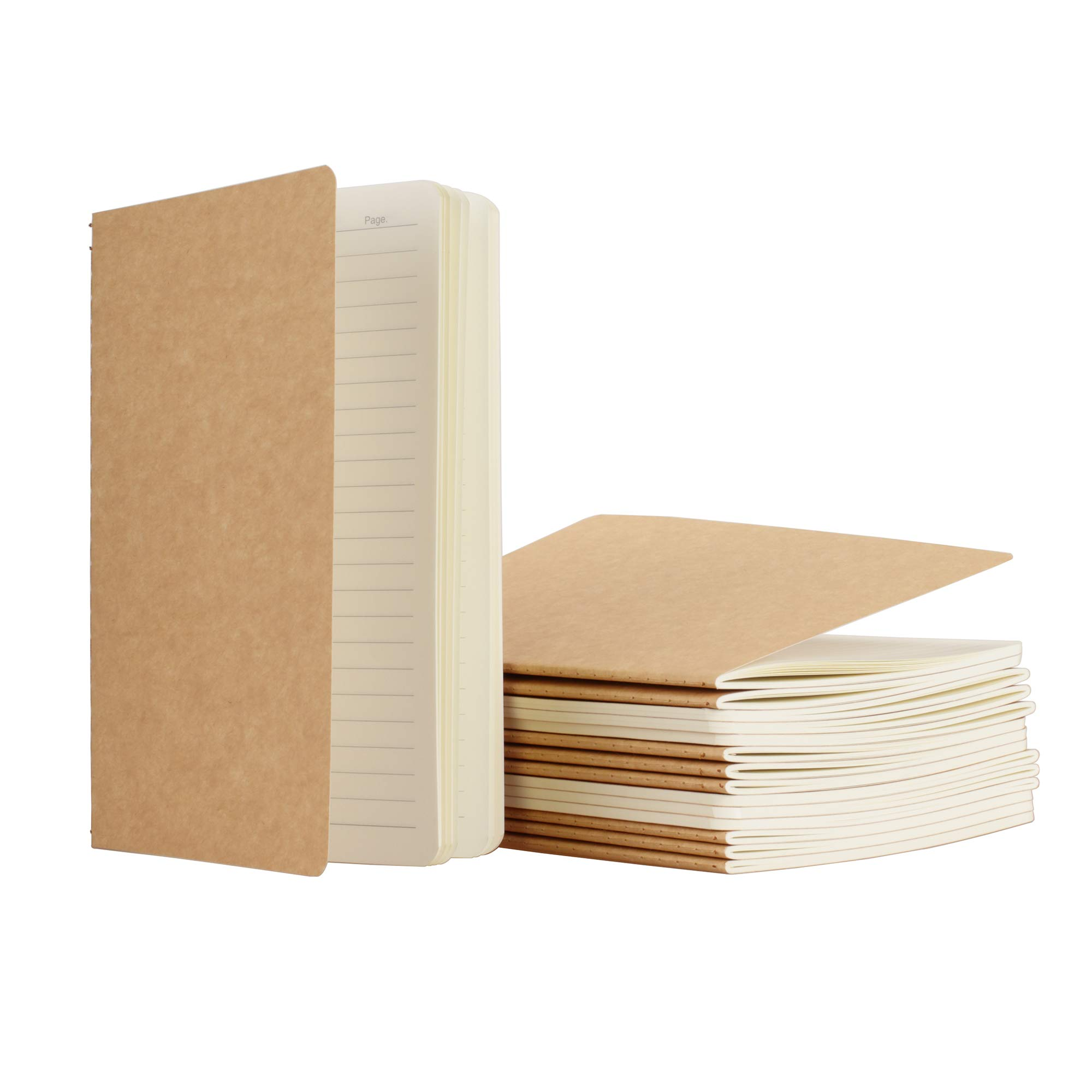 TWONE 15 Packs Kraft Notebook Ruled Pages A5 Kraft Brown Cover Pocket Journal Notebooks for Traveler Diary Note-Taking Ruled 60 Pages/30 Sheets (5.5'' x 8.25'') by TWONE