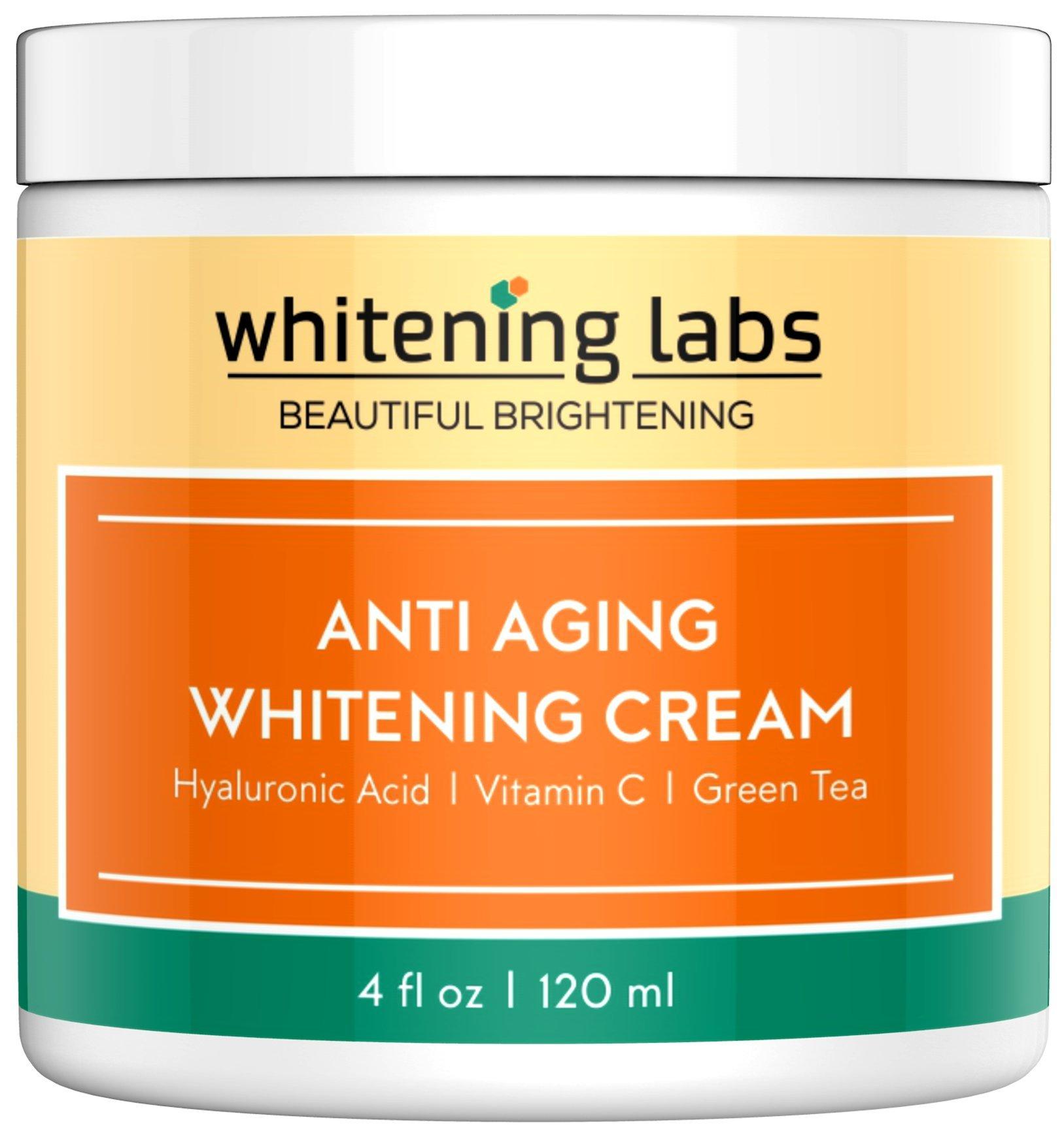 Whitening Labs Whitening Cream. Anti Aging Skin Lightening Cream. Hyaluronic Acid, Vitamin C, Kojic Acid, Green Tea. Best Day Night Brightening Cream.