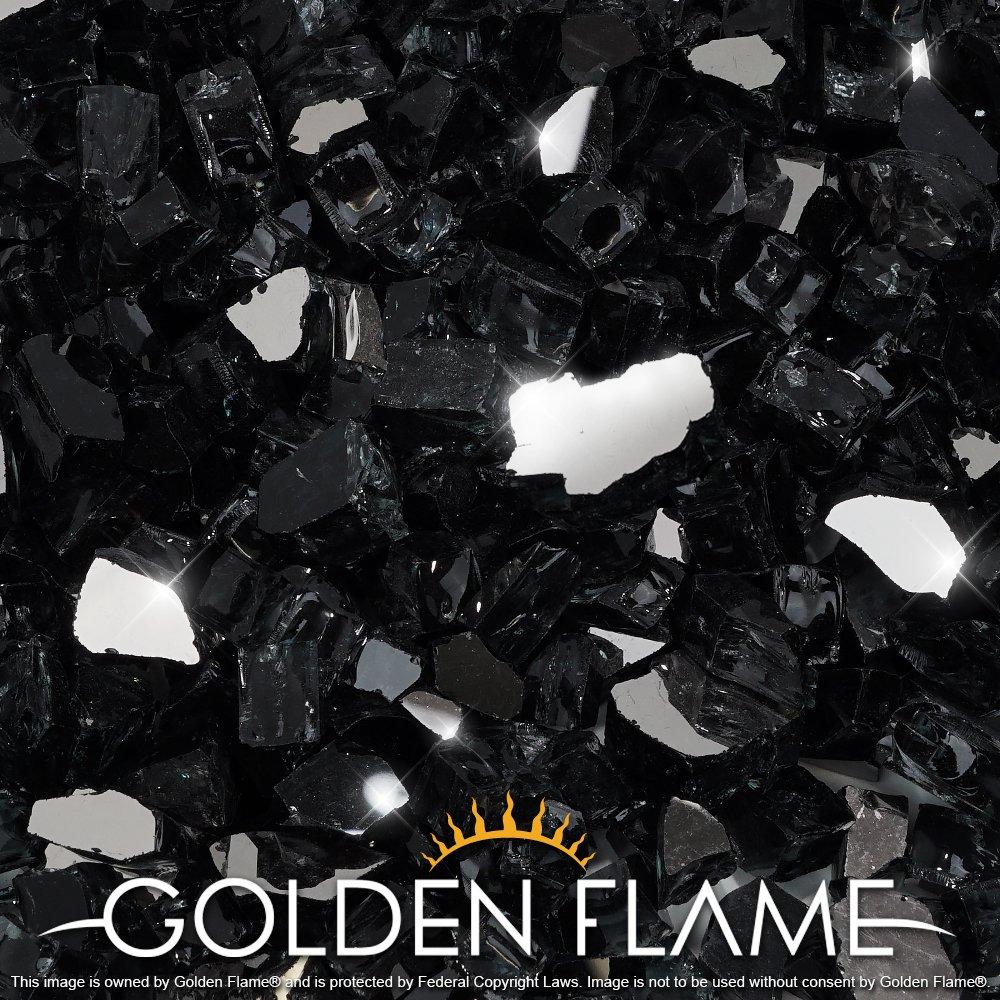 Golden Flame 1//2-Inch x 20-Pound Fire Glass Onyx Black Reflective