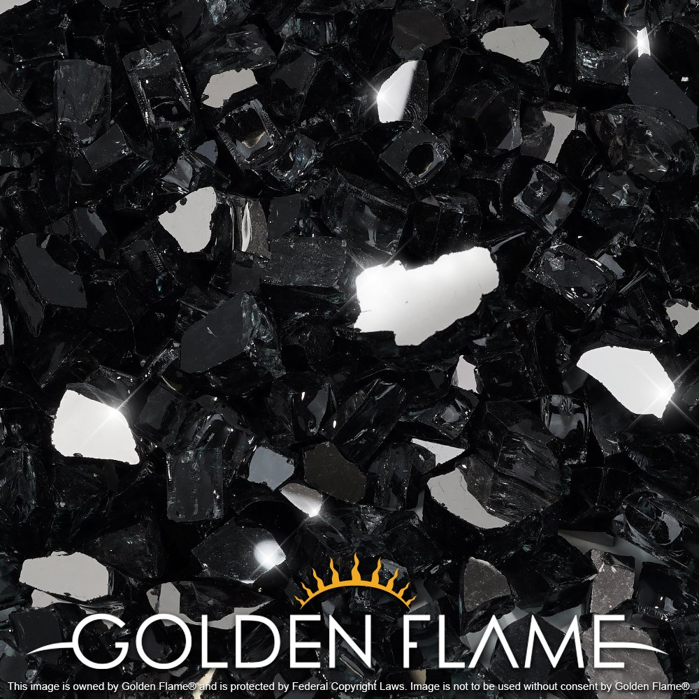 Golden Flame 20-Pound (Fire Glass) 1/2-Inch Onyx Black Reflective