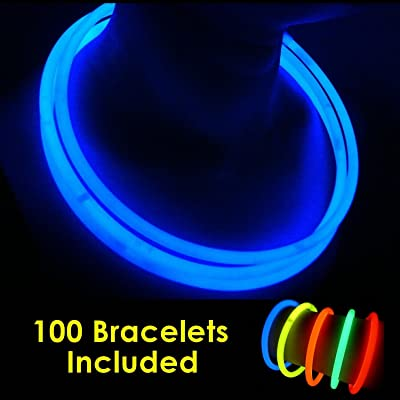 "100 Glow Sticks Bulk Wholesale Necklaces, 22"" Blue Glow Stick Necklaces +100 FREE Glow Bracelets! Bright Color, Glow 8-12 Hrs, Connector Pre-attached(Time Saver), Sturdy Packaging, GlowWithUs Brand"