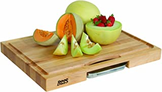 product image for John Boos Block PM2418225-P Newton Prep Master Maple Wood Reversible Cutting Board with Juice Groove and Pan, 24 Inches x 18 Inches x 2.25 Inches