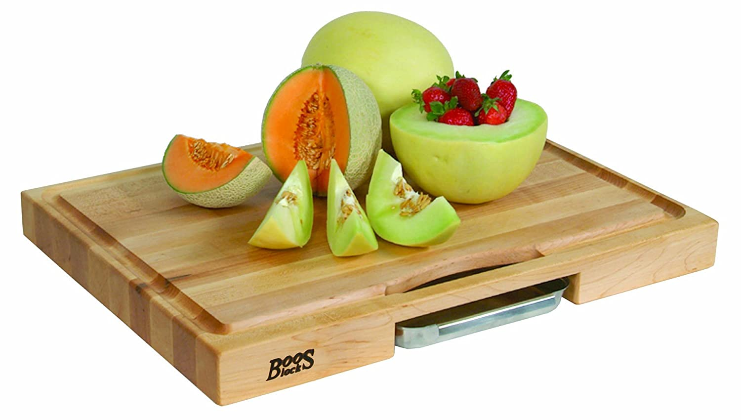 amazoncom john boos newton prep master maple wood reversible cutting board with juice groove and pan 24 inches x 18 inches x 225 inches kitchen u0026