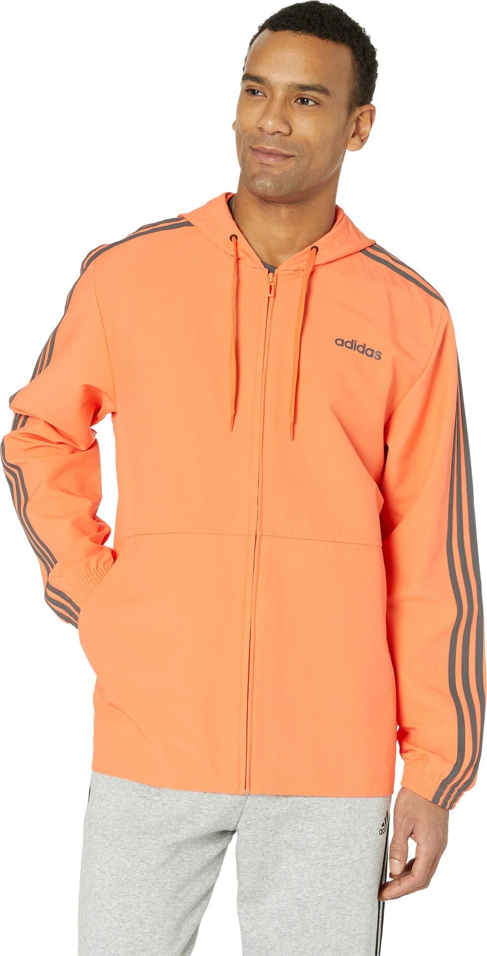 adidas Men's Essentials 3-Stripes Woven Windbreaker, True Orange, Medium by adidas
