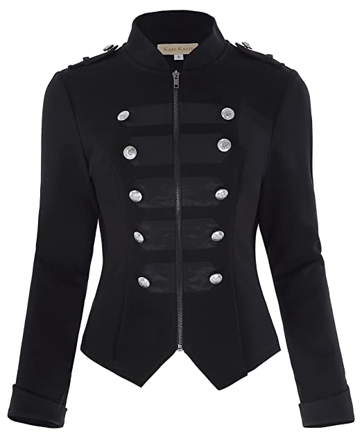 Vintage Coats & Jackets | Retro Coats and Jackets Kate Kasin Womens Black Gothic Steampunk Buttons Decorated Jacket Military Coat KK464 $36.59 AT vintagedancer.com