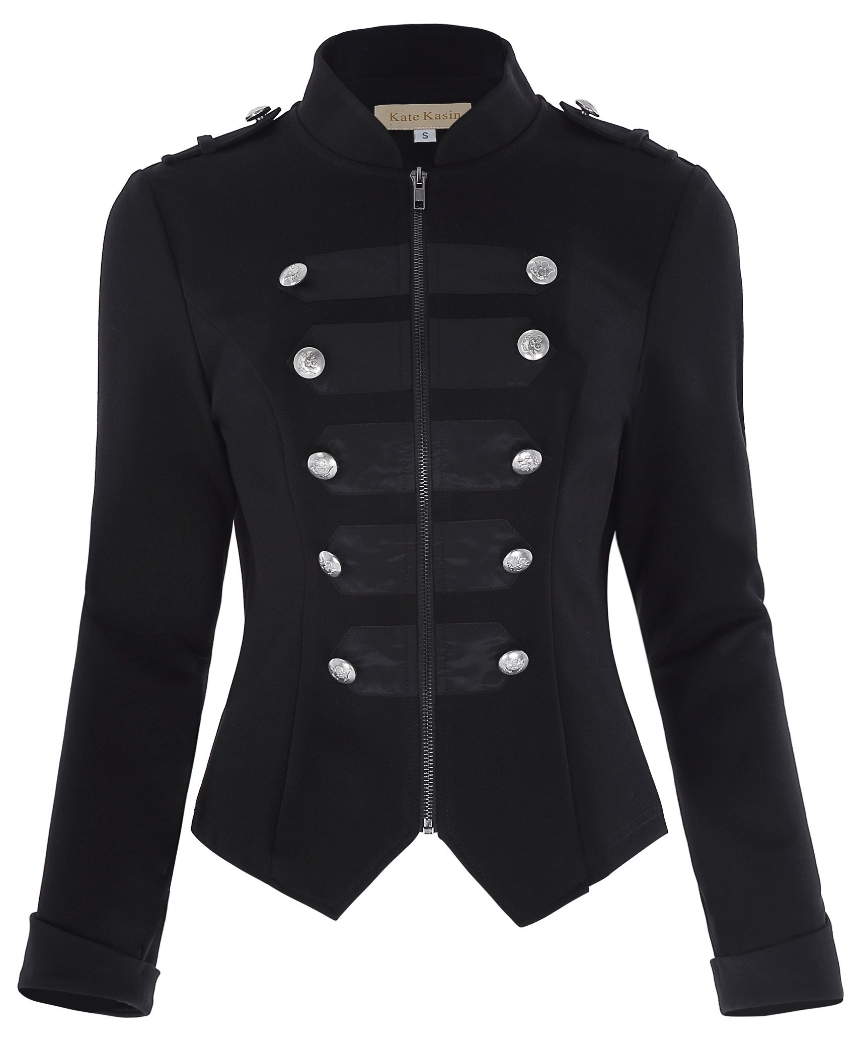 Kate Kasin Women's Black Steampunk Military Coat Tops Ringmaster Jacket KK464-1 Black Size S
