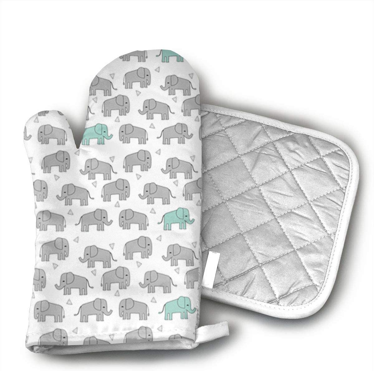 KEIOO Grey Mint Baby Elephant Oven Mitts and Potholders Heat Resistant Set of 2 Kitchen Set Non-Slip Grip Oven Gloves BBQ Cooking Baking Grilling
