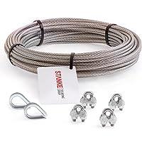 Seilwerk STANKE roestvrijstalen lijn V4A, 100m stalen lijn 2mm 7x7, 2x vingerhoed van roestvrijstaal V4A, 4x stalen…
