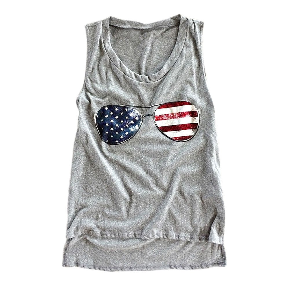Nlife Summer Women American National Stars and Stripes Flag Sunglasses Print Round Neck Top High Low Hem Tank Top