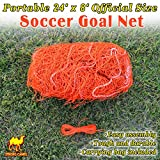 Strong Camel New Portable 24' x 8' Official Size Soccer goal Net Orange Color Outdoor Football Training