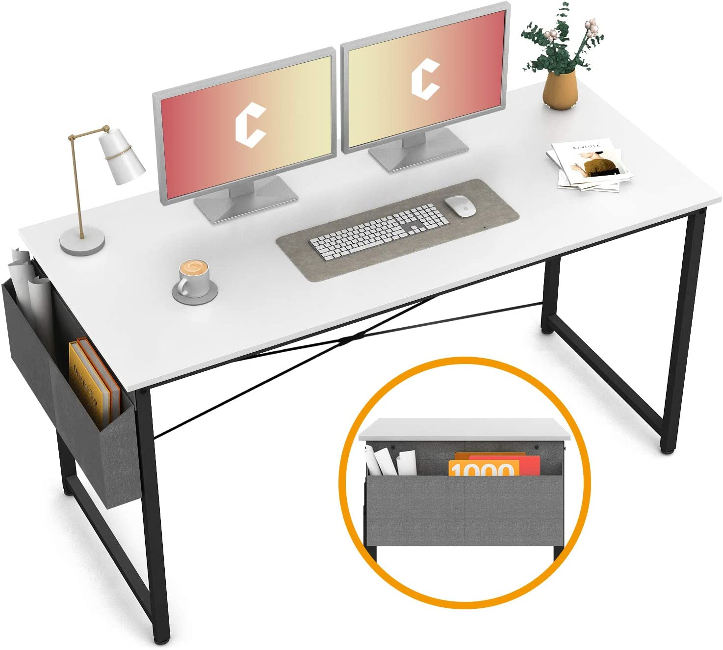 """Cubiker Computer Desk 55"""" Home Office Writing Study Desk, Modern Simple Style Laptop Table with Storage Bag, White"""