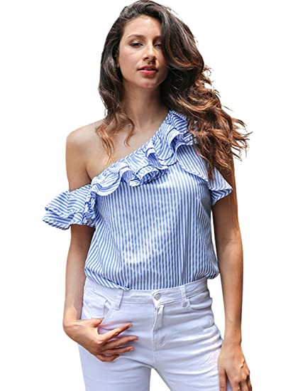 Simplee Apparel Womens One Off el hombro escote volante volante Cotton crop top blusa camisa