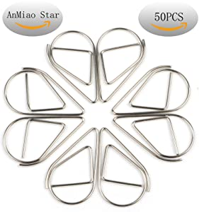 Anmiao Star Small Metal Drop-Shaped Paper Clip , Lovely Office Supplies Decorations , Pack of 50 (Silver)