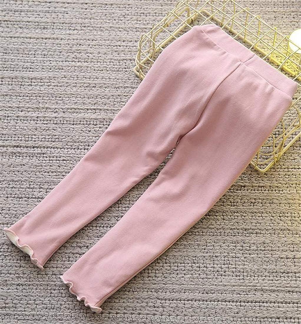 Cromoncent Girl Winter Thicken Fleece Bowknot Elastic Waist Tights Leggings Pants