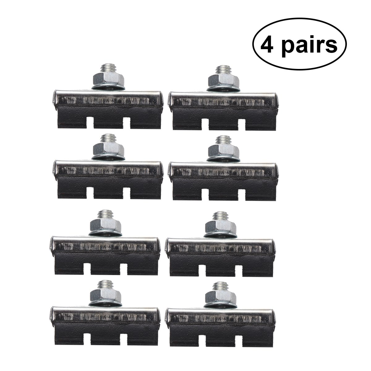 VORCOOL 4 Pairs V Brake Pads Braking Shoes Blocks Cycling Accessories for Mountain Road Bicycle Cycling Bike (Black)