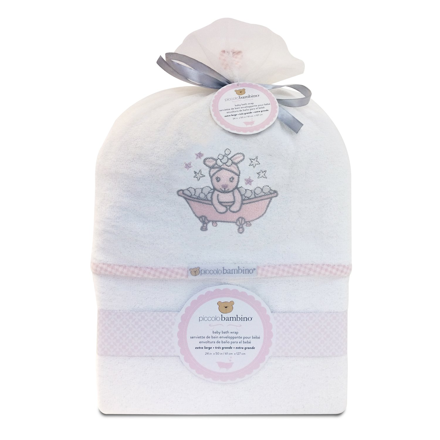 Piccolo Bambino - Extra Large Deluxe Cotton Hooded Bath Towel with Embroidery, Wolf Abond Group Inc.