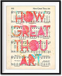 product image for How Great Thou Art, Christian Art Print, Unframed, Vintage Hymnal Book of Worship Page Hymn, Sheet Music, Watercolor Lyrics, Wall Decor Poster Gift, 8x10 Inches