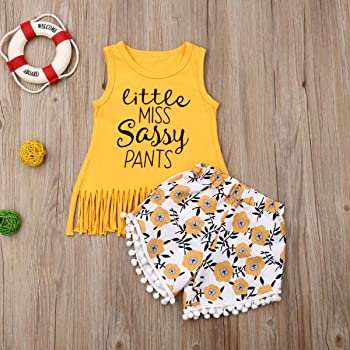 Tassel Floral Pompom Shorts 2Pcs Outfits Clothes Summer Shorts Sets Toddler Baby Girls Letters Print Tank Top Tank Tops