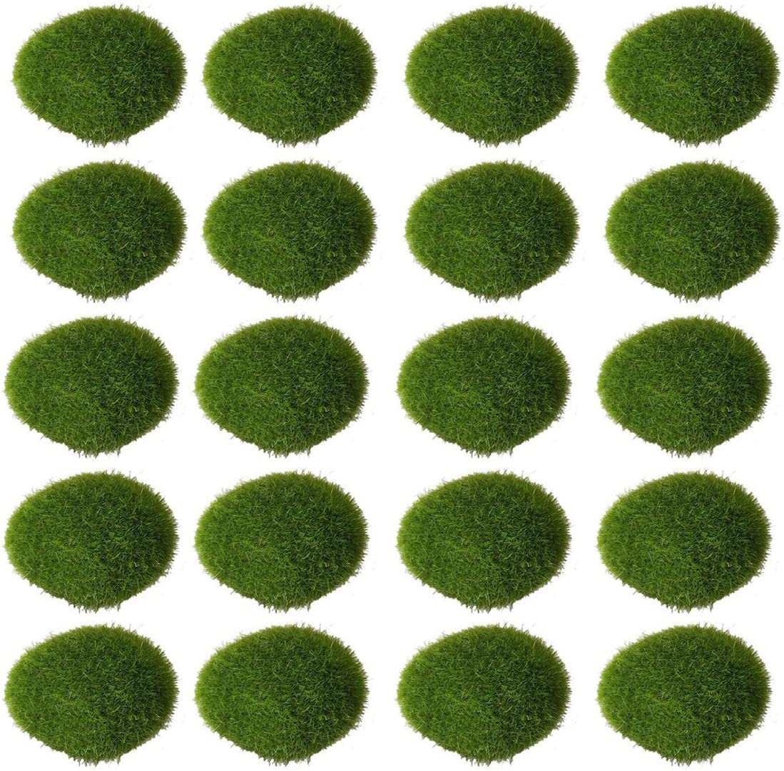 Pupdoge 20 Pcs Artificial Moss Rocks Decorative Faux Green Moss Covered Stones for Fairy Gardens Crafting Terrariums