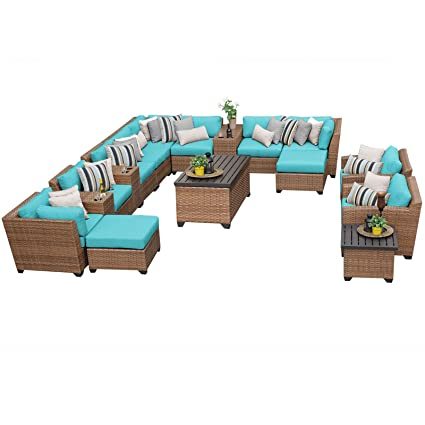 Amazon.com: TK Classics 17 Piece Laguna Outdoor Wicker Patio ...